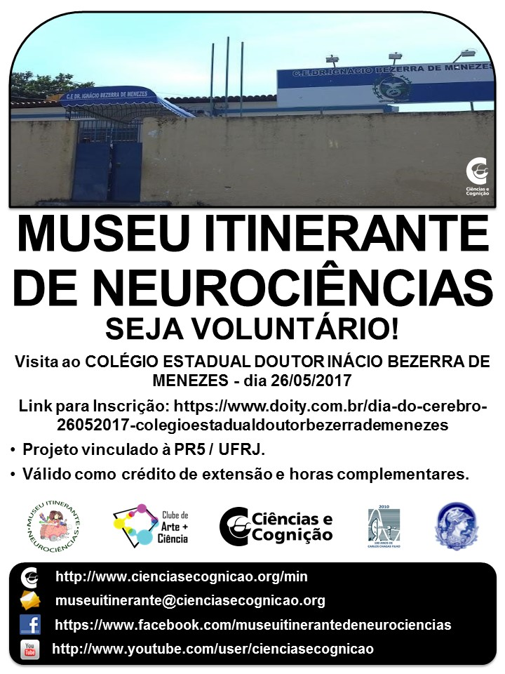 """MIN  abre inscrição de voluntários para o """"Dia do Cérebro"""" no dia 25/05/2017"""